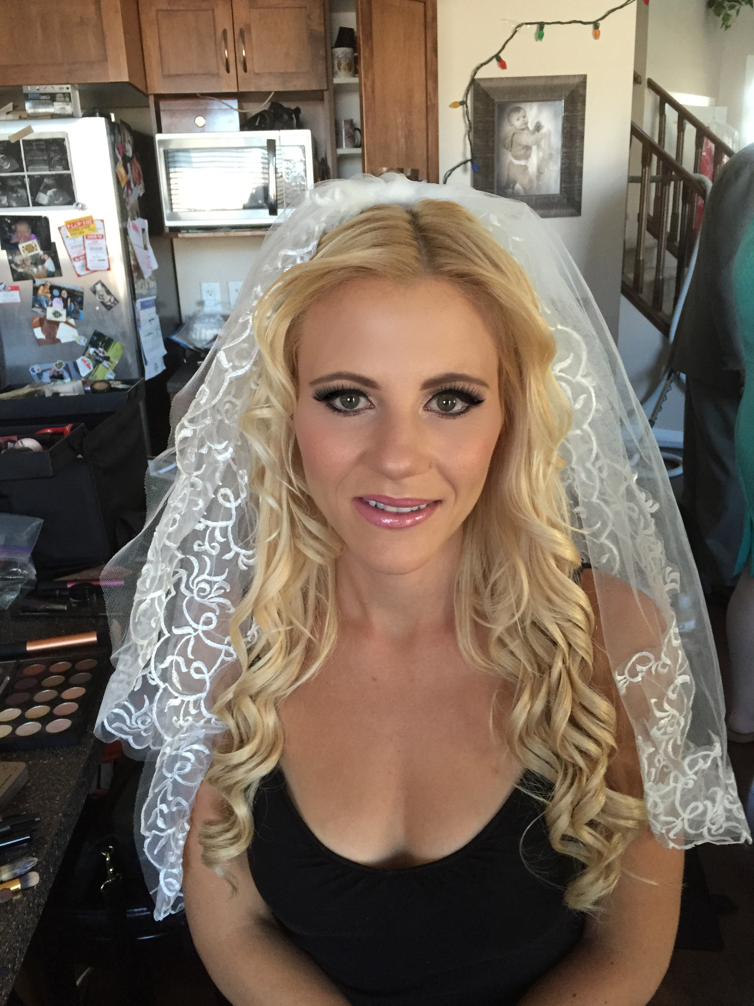 bride after-hair by Jamie ;makeup by  Monika