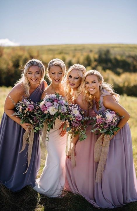 Bride Keanna and her bridesmaids-hair by Kara makeup by Monika