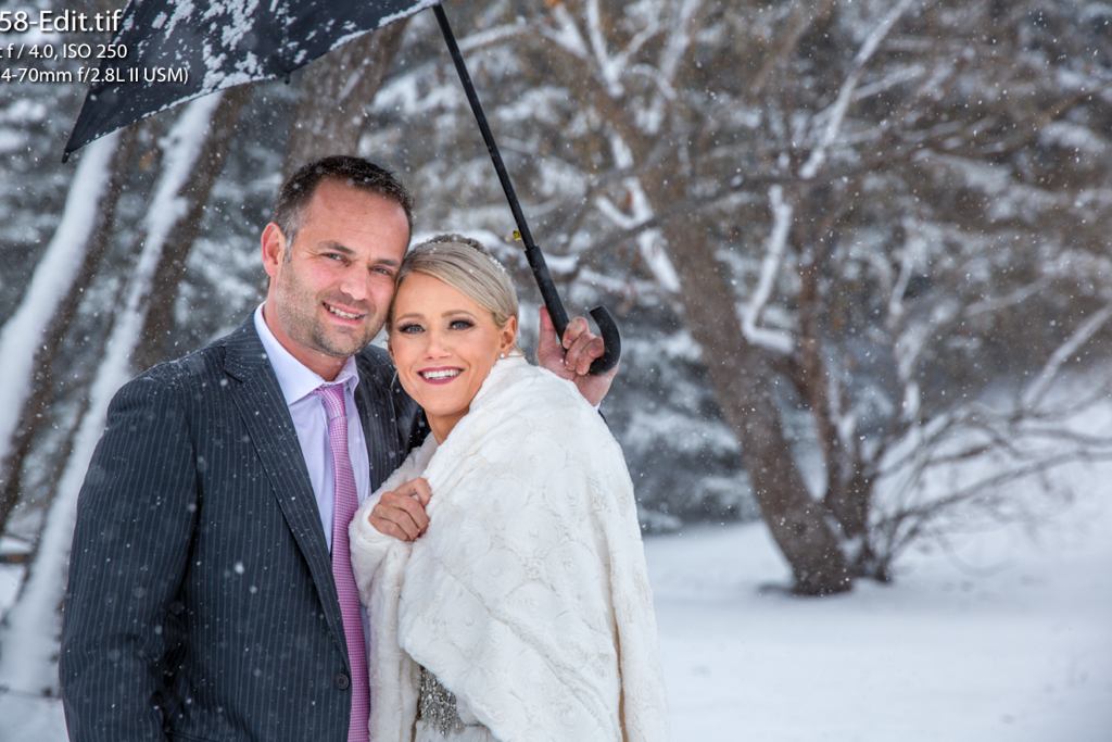Winter wedding -bride Lisa hair Jamie makeup Monika