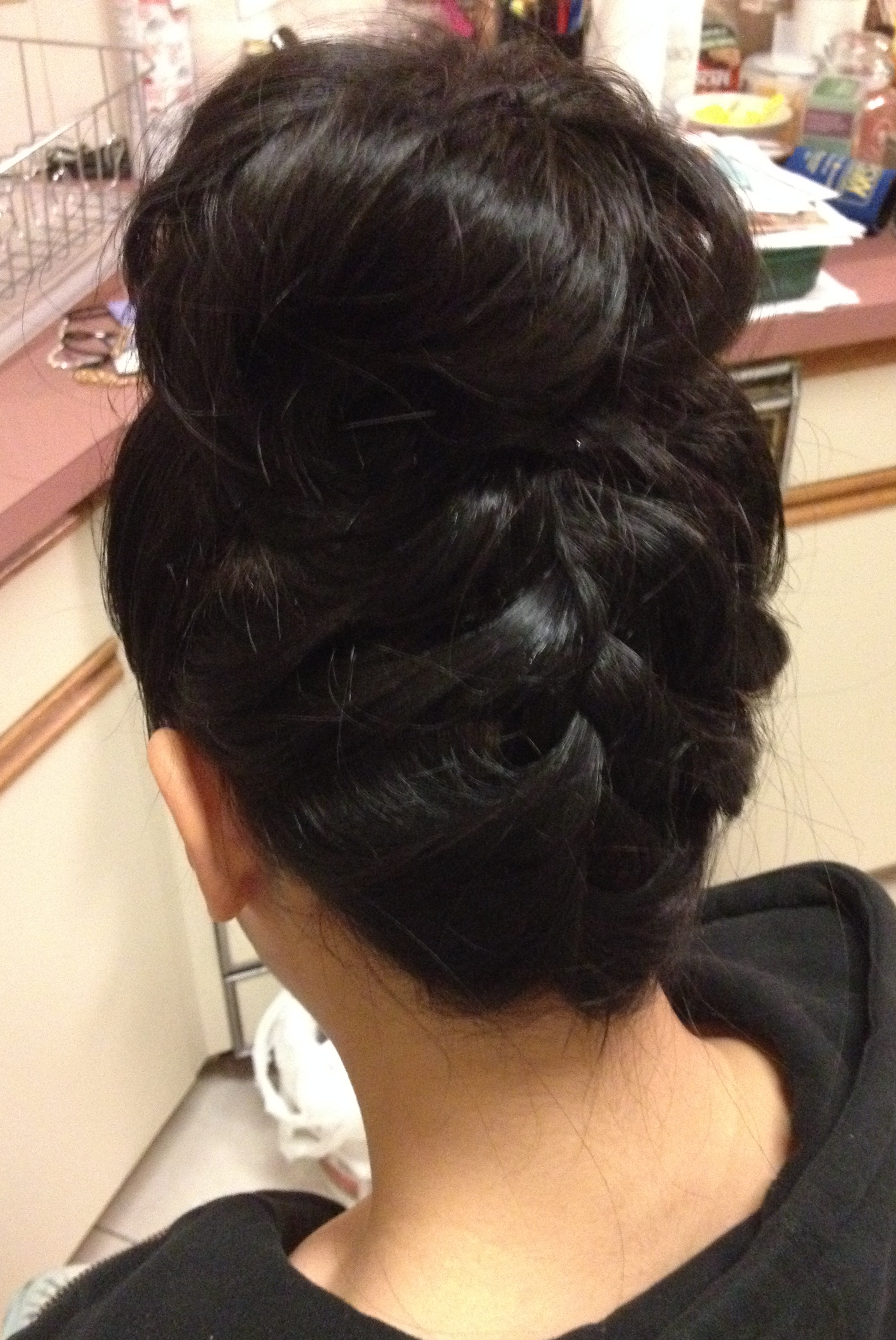 high up-do with french braid-by Jamie